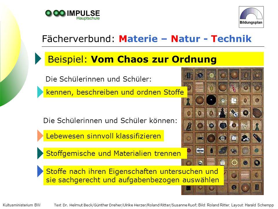 Fächerverbund: Materie – Natur - Technik Beispiel: Vom Chaos zur Ordnung Die Schülerinnen und Schüler: kennen, beschreiben und ordnen StoffeLebewesen