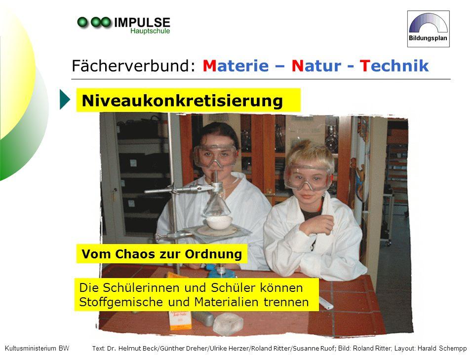 Fächerverbund: Materie – Natur - Technik Die Schülerinnen und Schüler können Stoffgemische und Materialien trennen Niveaukonkretisierung Kultusministe