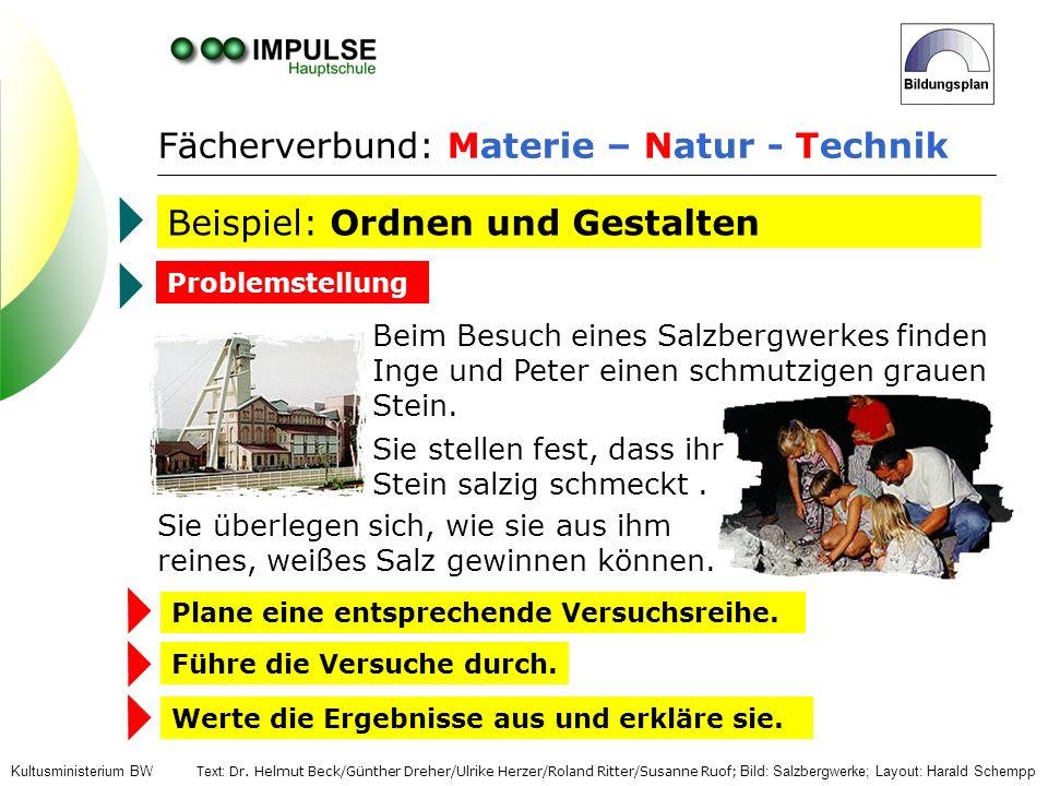 Fächerverbund: Materie – Natur - Technik Beispiel: Ordnen und Gestalten Beim Besuch eines Salzbergwerkes finden Inge und Peter einen schmutzigen graue