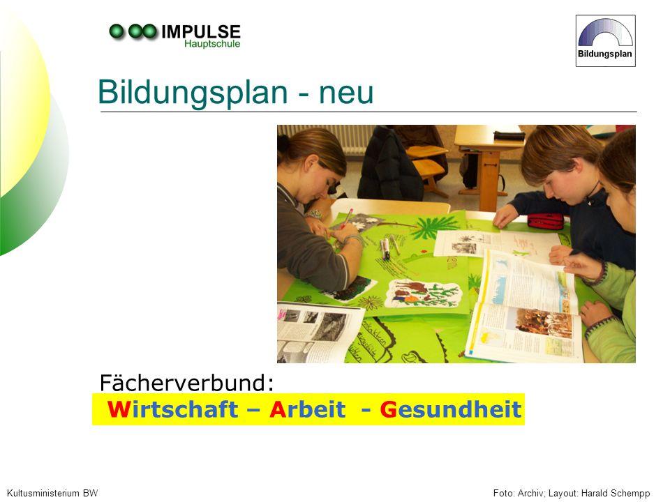 Foto: Archiv; Layout: Harald SchemppKultusministerium BW Bildungsplan - neu Fächerverbund: Wirtschaft – Arbeit - Gesundheit