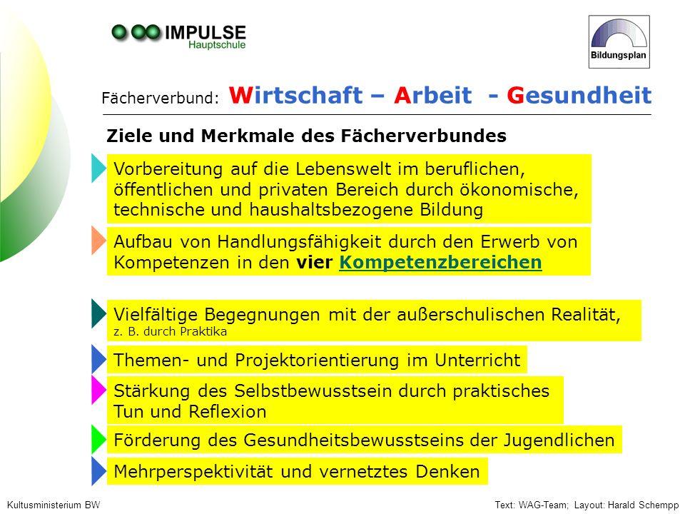 Text: WAG-Team; Layout: Harald SchemppKultusministerium BW Vorbereitung auf die Lebenswelt im beruflichen, öffentlichen und privaten Bereich durch öko