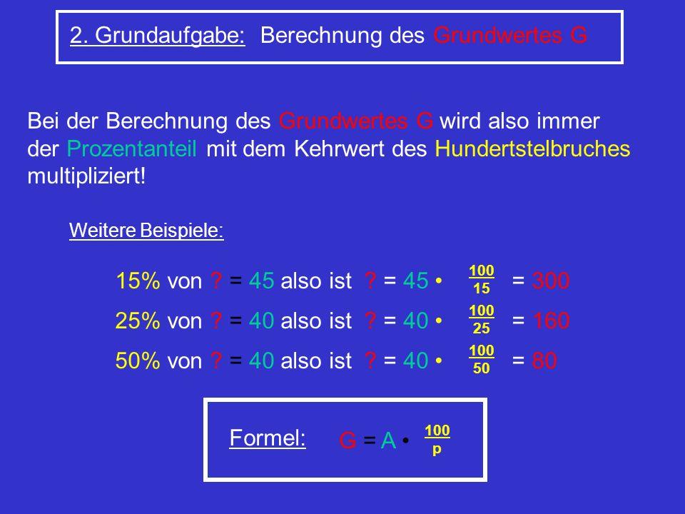 2. Grundaufgabe: Berechnung des Grundwertes G Bei der Berechnung des Grundwertes G wird also immer der Prozentanteil mit dem Kehrwert des Hundertstelb