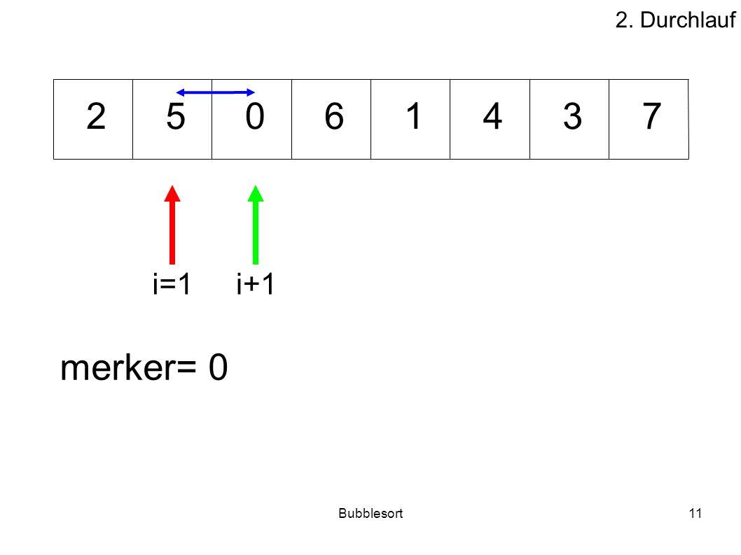 Bubblesort11 46573 012 merker= 0 i=1i+1 2. Durchlauf