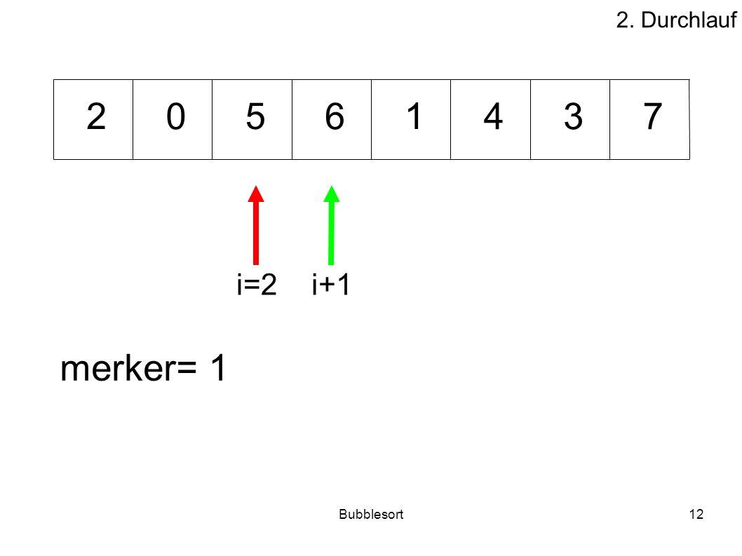 Bubblesort12 46073 512 merker= 1 i=2i+1 2. Durchlauf