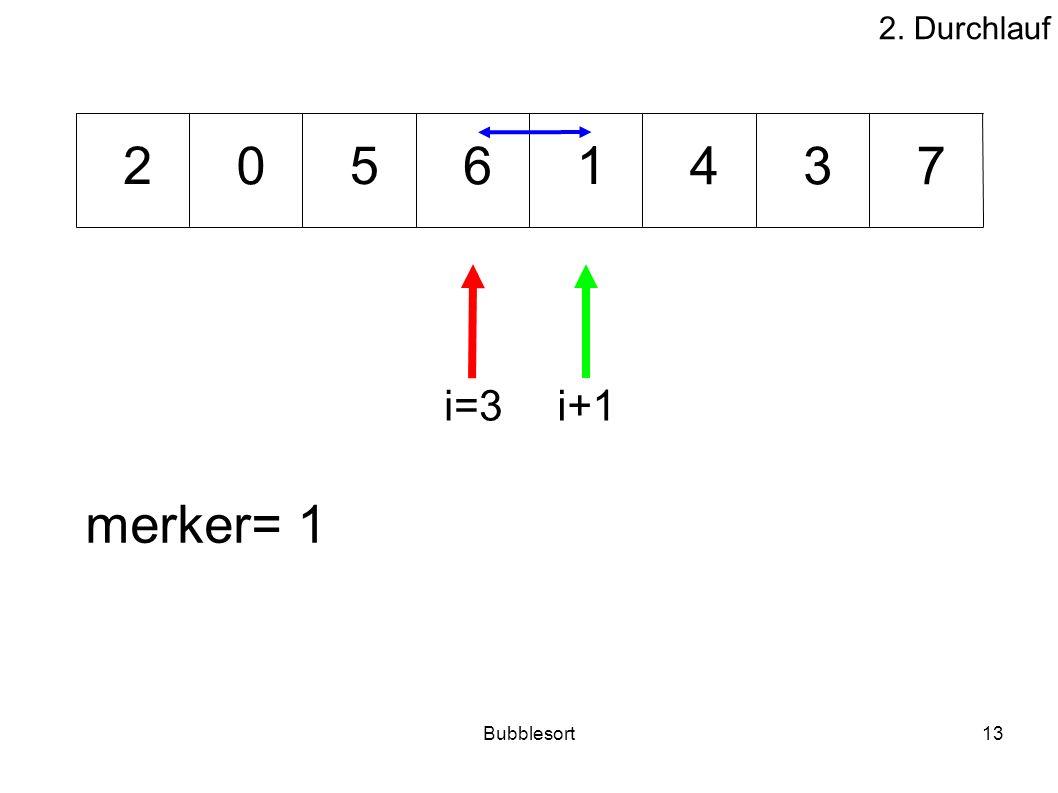 Bubblesort13 46073 512 merker= 1 i=3i+1 2. Durchlauf