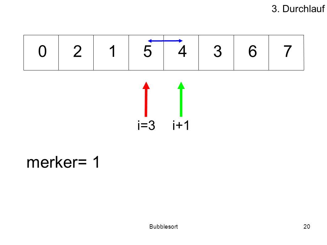 Bubblesort20 35276 140 merker= 1 i=3i+1 3. Durchlauf