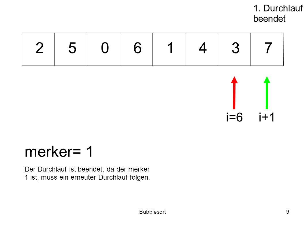 Bubblesort9 46573 012 merker= 1 i=6i+1 1. Durchlauf beendet Der Durchlauf ist beendet; da der merker 1 ist, muss ein erneuter Durchlauf folgen.