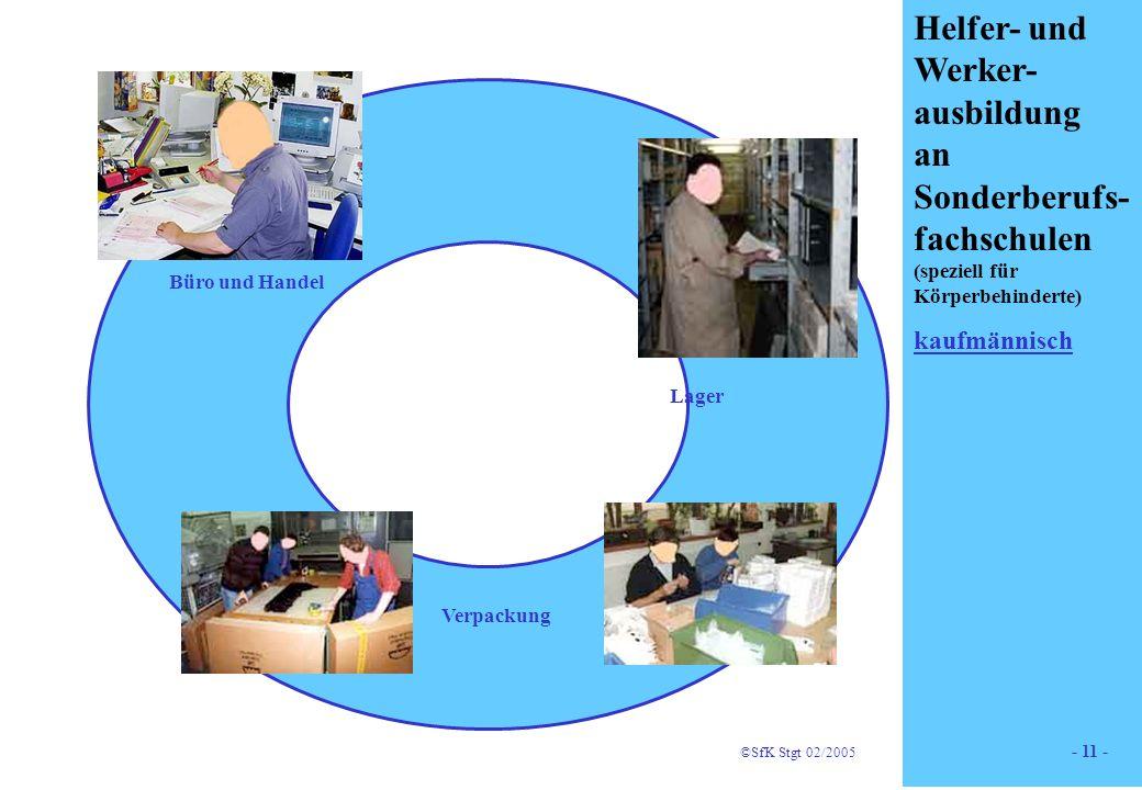 11 Helfer- und Werker- ausbildung an Sonderberufs- fachschulen (speziell für Körperbehinderte) kaufmännisch Holz Lager Büro und Handel Verpackung ©SfK