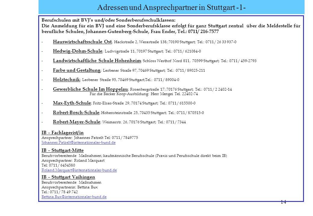 14 Adressen und Ansprechpartner in Stuttgart -1- Berufschulen mit BVJs und/oder Sonderberufsschulklassen: Die Anmeldung für ein BVJ und eine Sonderber