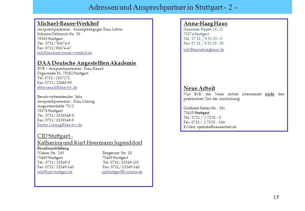 15 Adressen und Ansprechpartner in Stuttgart - 2 - Michael-Bauer-Werkhof Ansprechpartnerin: Sozialpädagogin Frau Lebon Schulze-Delitzsch-Str. 50 70565