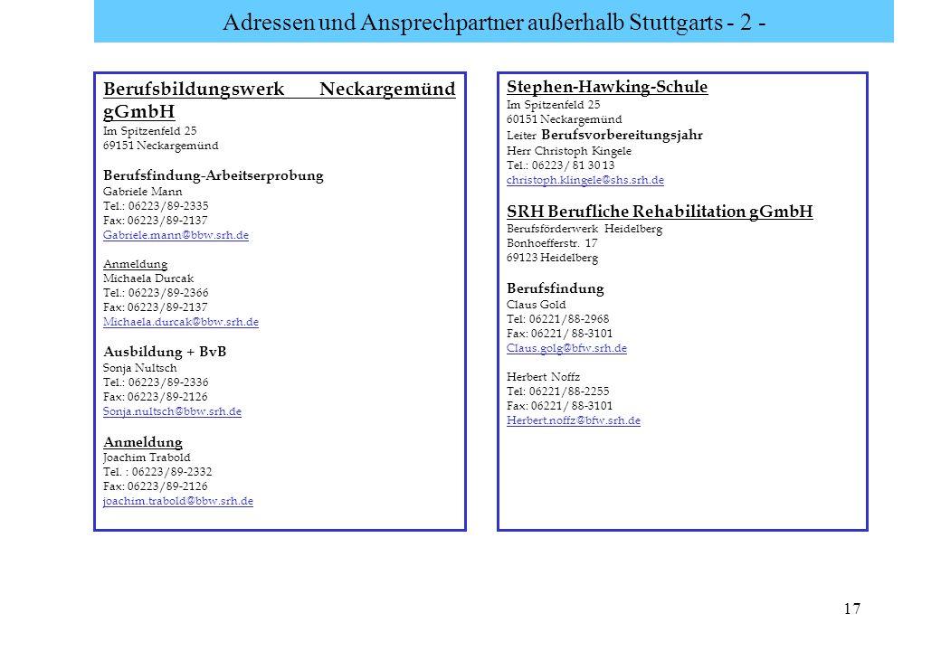 17 Adressen und Ansprechpartner außerhalb Stuttgarts - 2 - Stephen-Hawking-Schule Im Spitzenfeld 25 60151 Neckargemünd Leiter Berufsvorbereitungsjahr