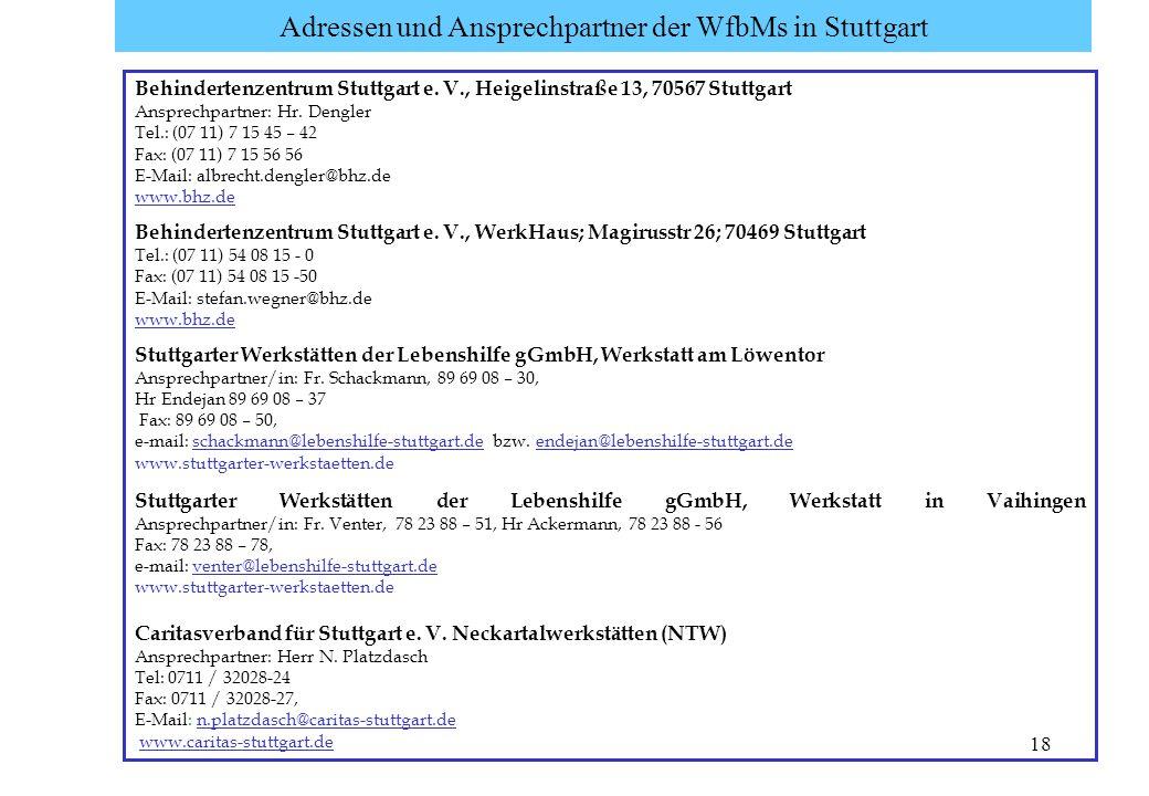 18 Adressen und Ansprechpartner der WfbMs in Stuttgart Behindertenzentrum Stuttgart e. V., Heigelinstraße 13, 70567 Stuttgart Ansprechpartner: Hr. Den