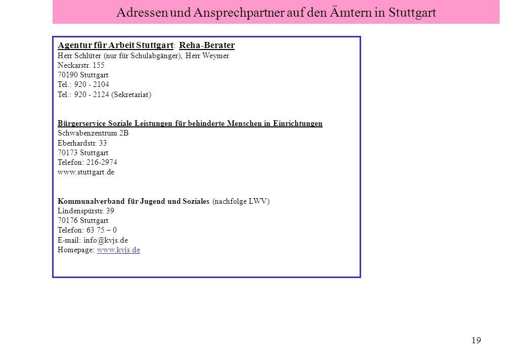 19 Adressen und Ansprechpartner auf den Ämtern in Stuttgart Agentur für Arbeit Stuttgart : Reha-Berater Herr Schlüter (nur für Schulabgänger), Herr We