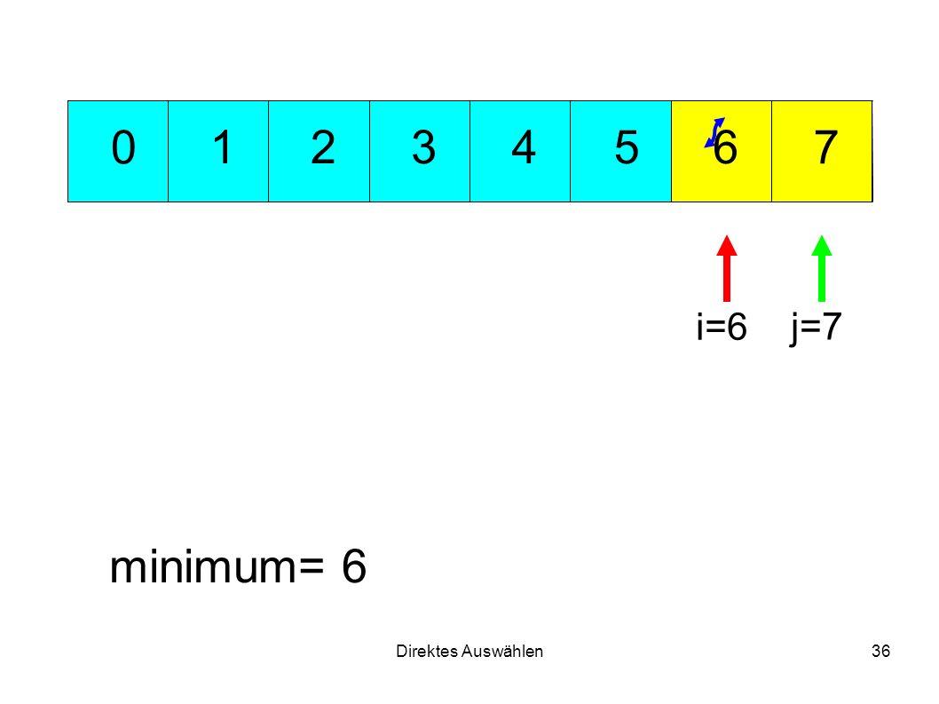 Direktes Auswählen36 351 7 624 0 minimum= 6 i=6 j=7