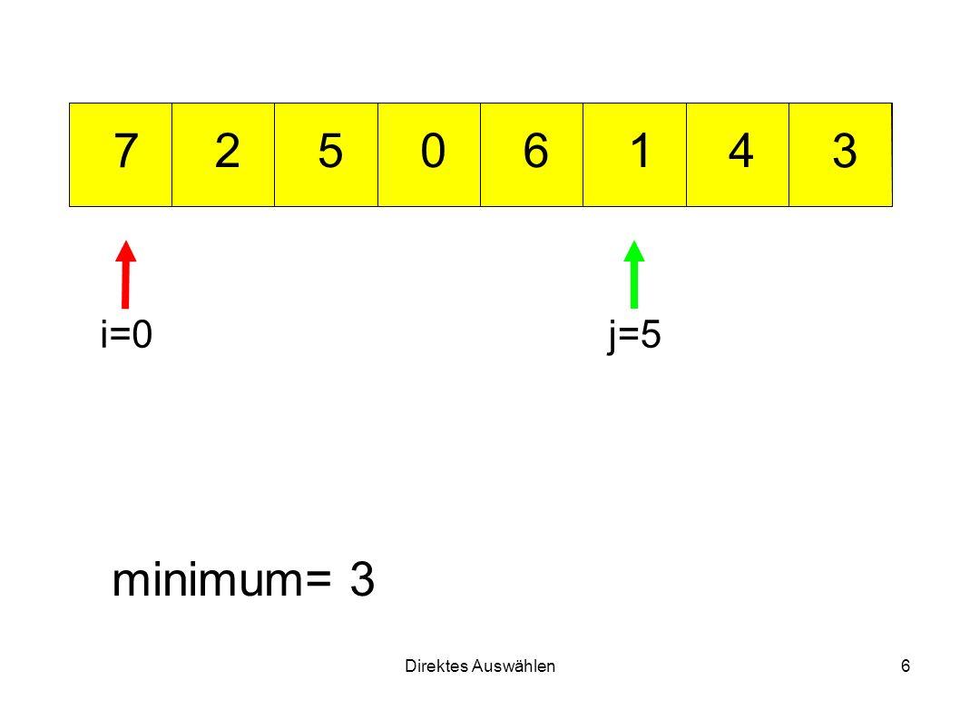 Direktes Auswählen6 012 3 456 7 minimum= 3 i=0j=5