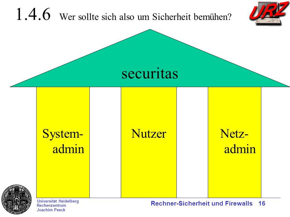 Universität Heidelberg Rechenzentrum Joachim Peeck Rechner-Sicherheit und Firewalls 16 1.4.6 Wer sollte sich also um Sicherheit bemühen? securitas Sys