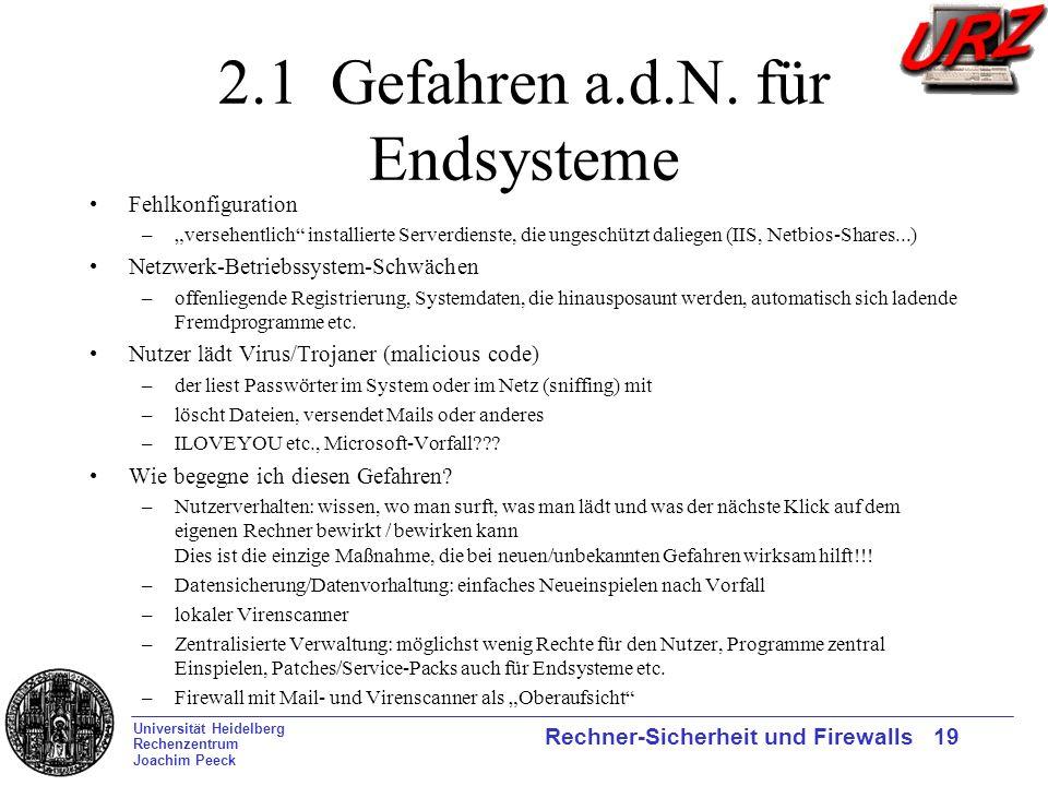 Universität Heidelberg Rechenzentrum Joachim Peeck Rechner-Sicherheit und Firewalls 19 2.1 Gefahren a.d.N. für Endsysteme Fehlkonfiguration –versehent