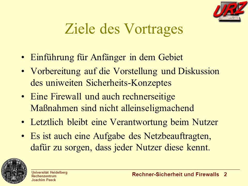 Universität Heidelberg Rechenzentrum Joachim Peeck Rechner-Sicherheit und Firewalls 2 Ziele des Vortrages Einführung für Anfänger in dem Gebiet Vorber