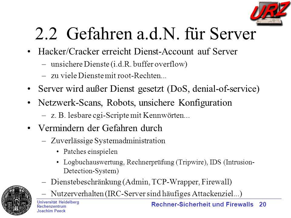 Universität Heidelberg Rechenzentrum Joachim Peeck Rechner-Sicherheit und Firewalls 20 2.2 Gefahren a.d.N. für Server Hacker/Cracker erreicht Dienst-A