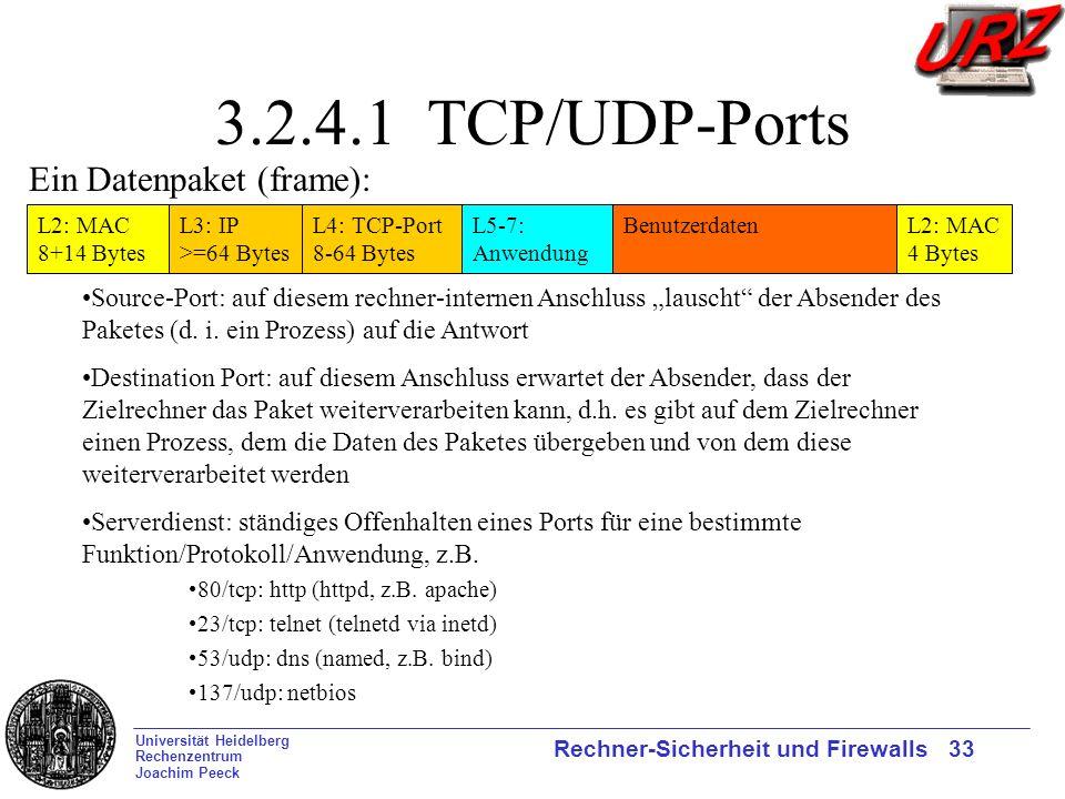 Universität Heidelberg Rechenzentrum Joachim Peeck Rechner-Sicherheit und Firewalls 33 3.2.4.1 TCP/UDP-Ports L2: MAC 8+14 Bytes L3: IP >=64 Bytes L4: