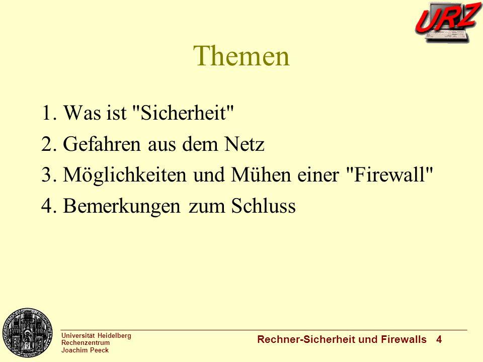 Universität Heidelberg Rechenzentrum Joachim Peeck Rechner-Sicherheit und Firewalls 4 Themen 1. Was ist