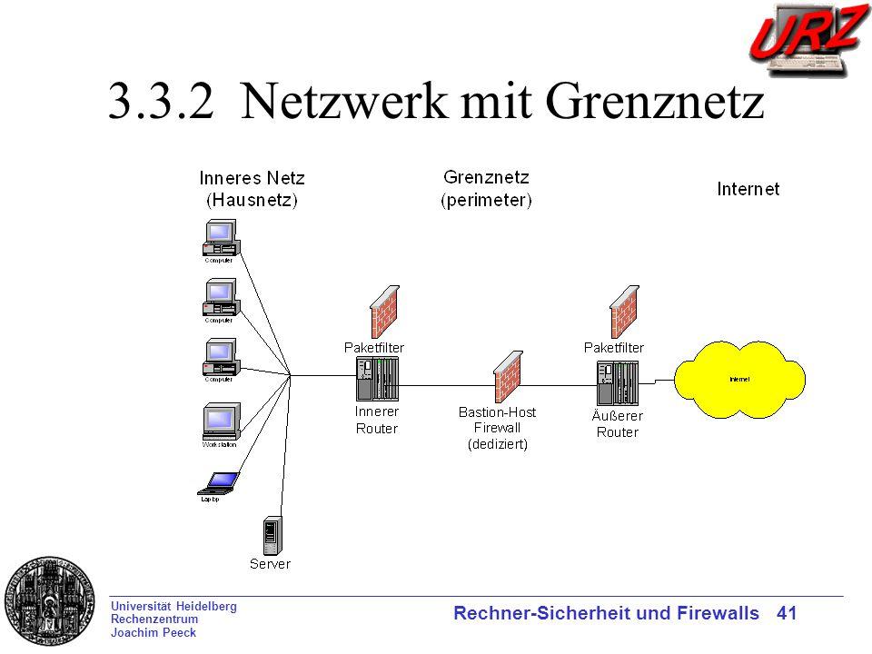 Universität Heidelberg Rechenzentrum Joachim Peeck Rechner-Sicherheit und Firewalls 41 3.3.2 Netzwerk mit Grenznetz