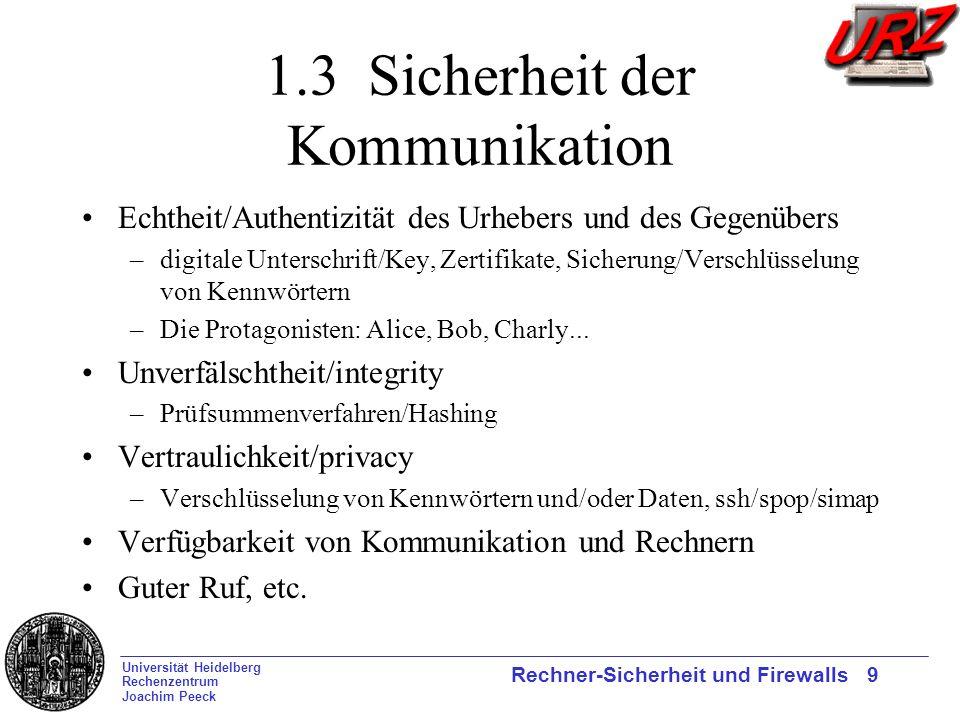 Universität Heidelberg Rechenzentrum Joachim Peeck Rechner-Sicherheit und Firewalls 9 1.3 Sicherheit der Kommunikation Echtheit/Authentizität des Urhe