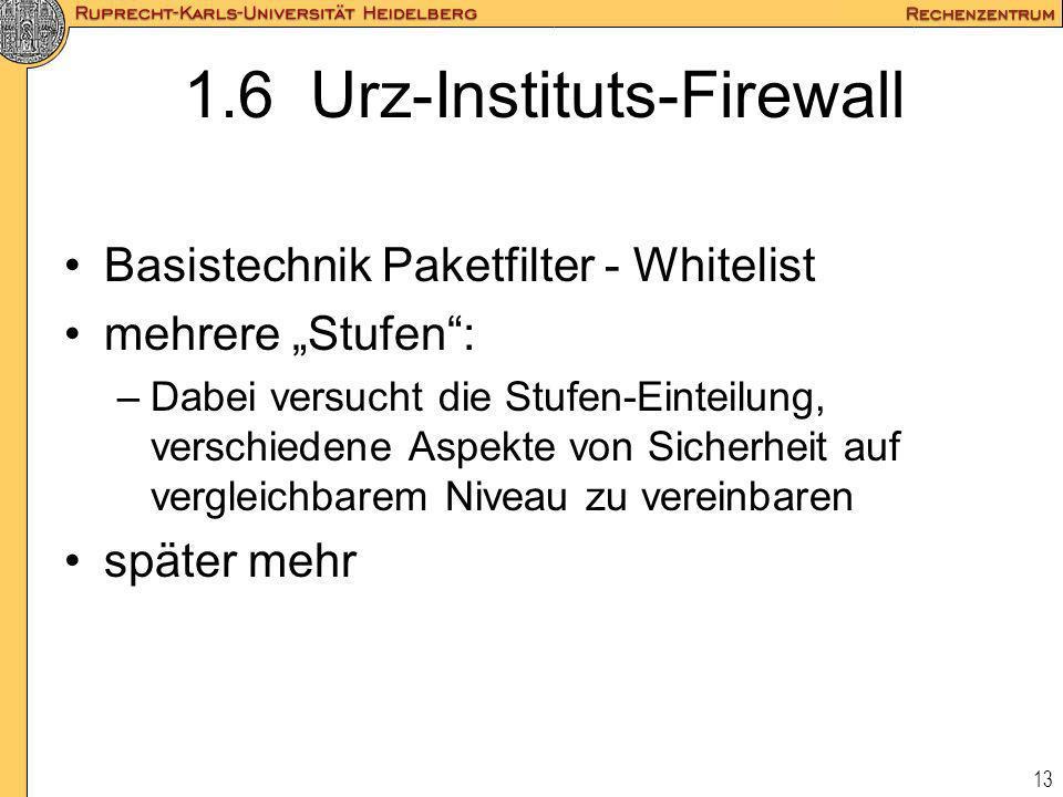 13 1.6 Urz-Instituts-Firewall Basistechnik Paketfilter - Whitelist mehrere Stufen: –Dabei versucht die Stufen-Einteilung, verschiedene Aspekte von Sic