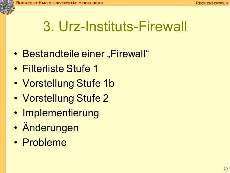 22 3. Urz-Instituts-Firewall Bestandteile einer Firewall Filterliste Stufe 1 Vorstellung Stufe 1b Vorstellung Stufe 2 Implementierung Änderungen Probl