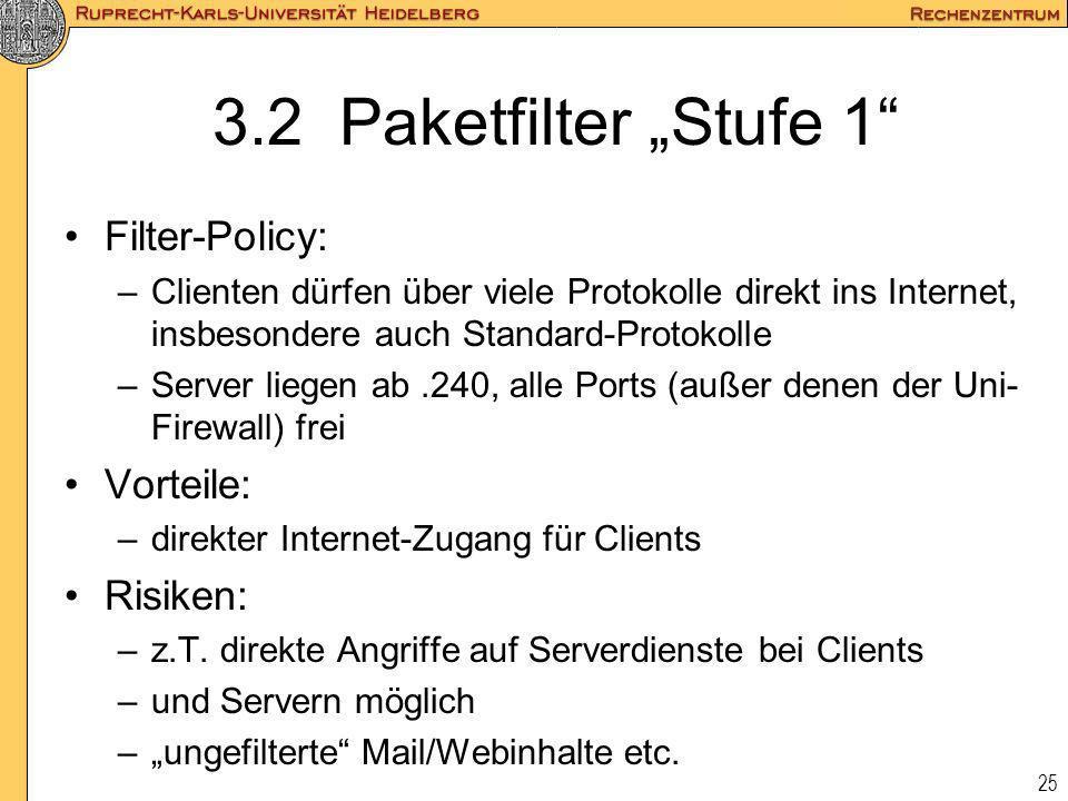 25 3.2 Paketfilter Stufe 1 Filter-Policy: –Clienten dürfen über viele Protokolle direkt ins Internet, insbesondere auch Standard-Protokolle –Server li