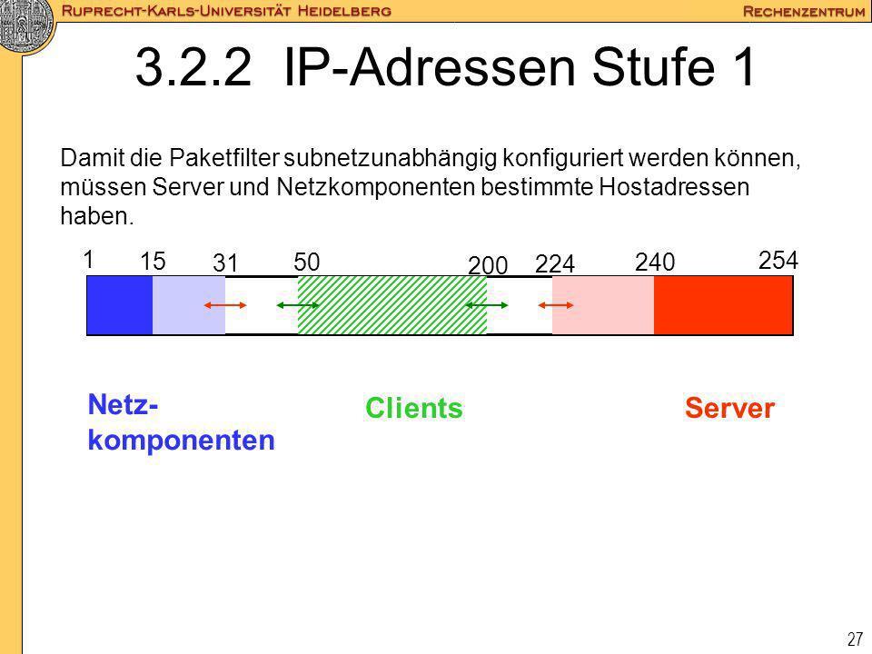 27 3.2.2 IP-Adressen Stufe 1 Damit die Paketfilter subnetzunabhängig konfiguriert werden können, müssen Server und Netzkomponenten bestimmte Hostadres