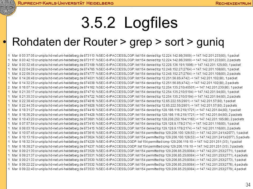 34 3.5.2 Logfiles Rohdaten der Router > grep > sort > guniq 1Mar 8 03:37:05 cr-unipla.hd-net.uni-heidelberg.de 873113: %SEC-6-IPACCESSLOGP: list 154 d