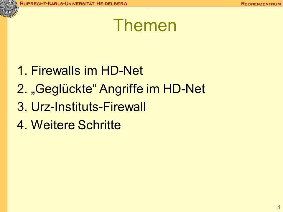 4 Themen 1. Firewalls im HD-Net 2. Geglückte Angriffe im HD-Net 3. Urz-Instituts-Firewall 4. Weitere Schritte