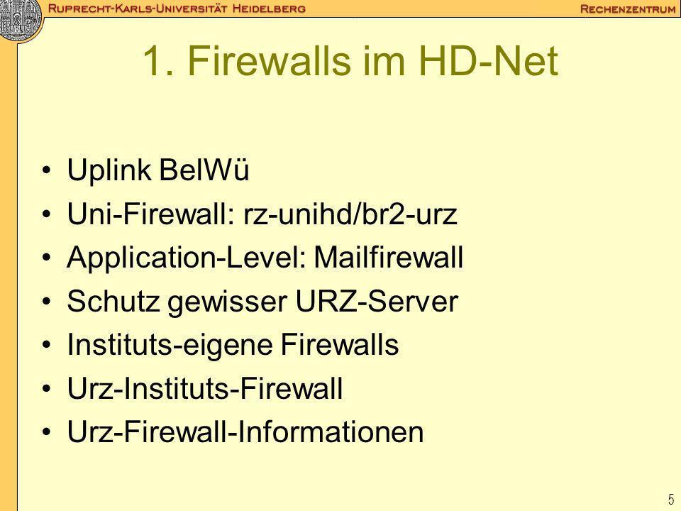 5 1. Firewalls im HD-Net Uplink BelWü Uni-Firewall: rz-unihd/br2-urz Application-Level: Mailfirewall Schutz gewisser URZ-Server Instituts-eigene Firew