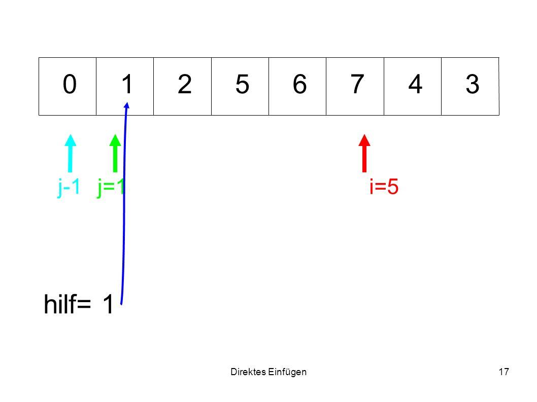 Direktes Einfügen17 675341 hilf= 1 i=5j=1 0 j-1 2