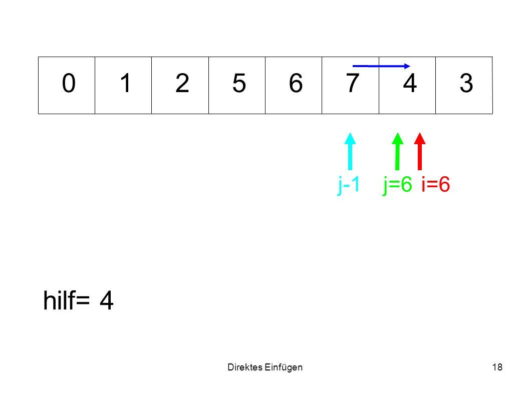 Direktes Einfügen18 675341 hilf= 4 i=6j=6 0 j-1 2