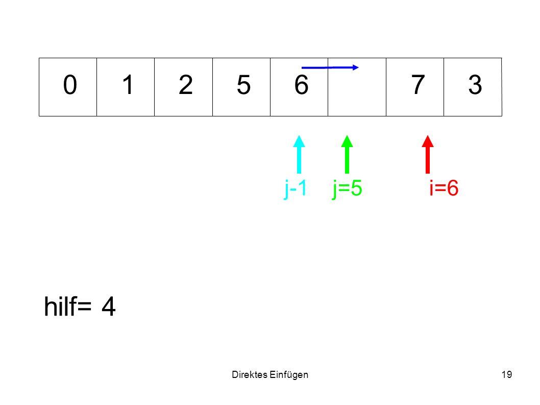 Direktes Einfügen19 65371 hilf= 4 i=6j=5 0 j-1 2
