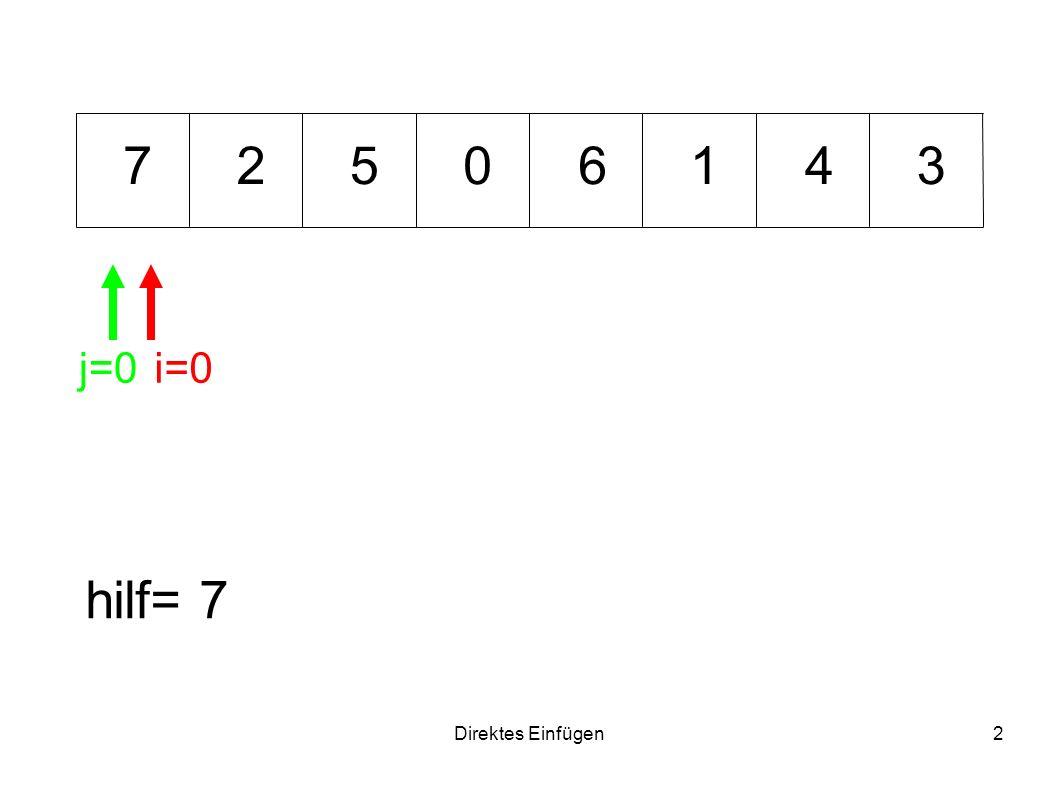 Direktes Einfügen2 01234567 hilf= 7 i=0j=0