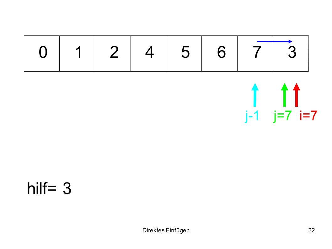 Direktes Einfügen22 64371 hilf= 3 i=7j=7 0 j-1 25