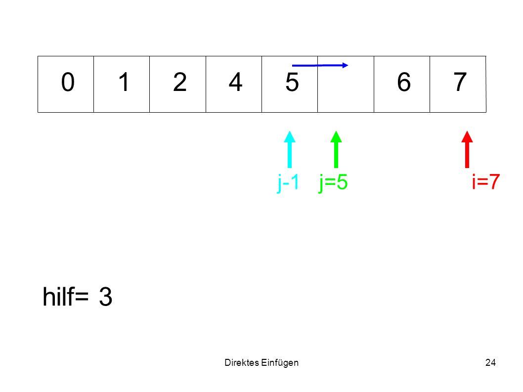 Direktes Einfügen24 6471 hilf= 3 i=7 j=5 0 j-1 25