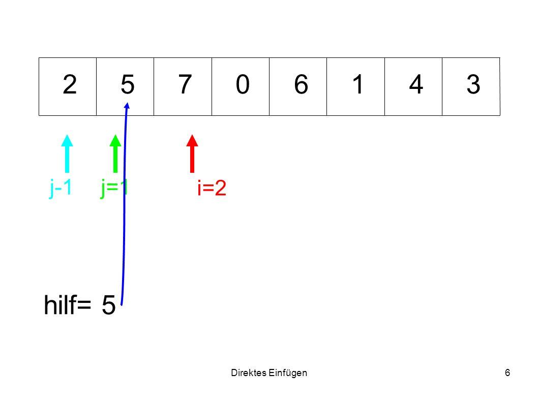 Direktes Einfügen6 01534762 hilf= 5 i=2 j=1j-1