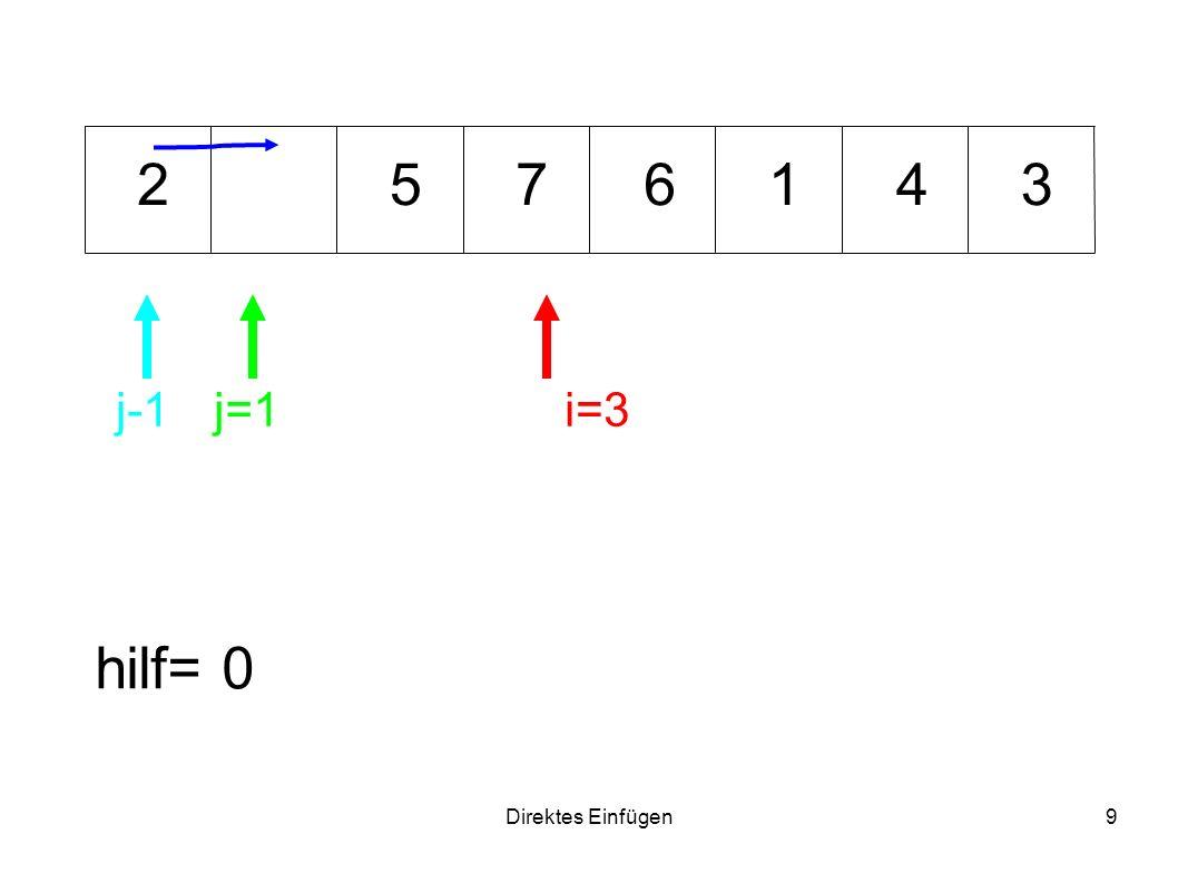 Direktes Einfügen9 7153462 hilf= 0 i=3j=1j-1