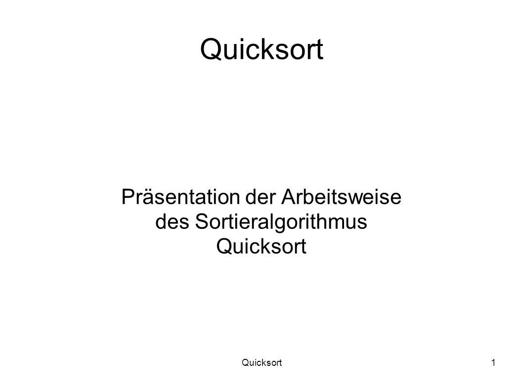 Quicksort1 Präsentation der Arbeitsweise des Sortieralgorithmus Quicksort