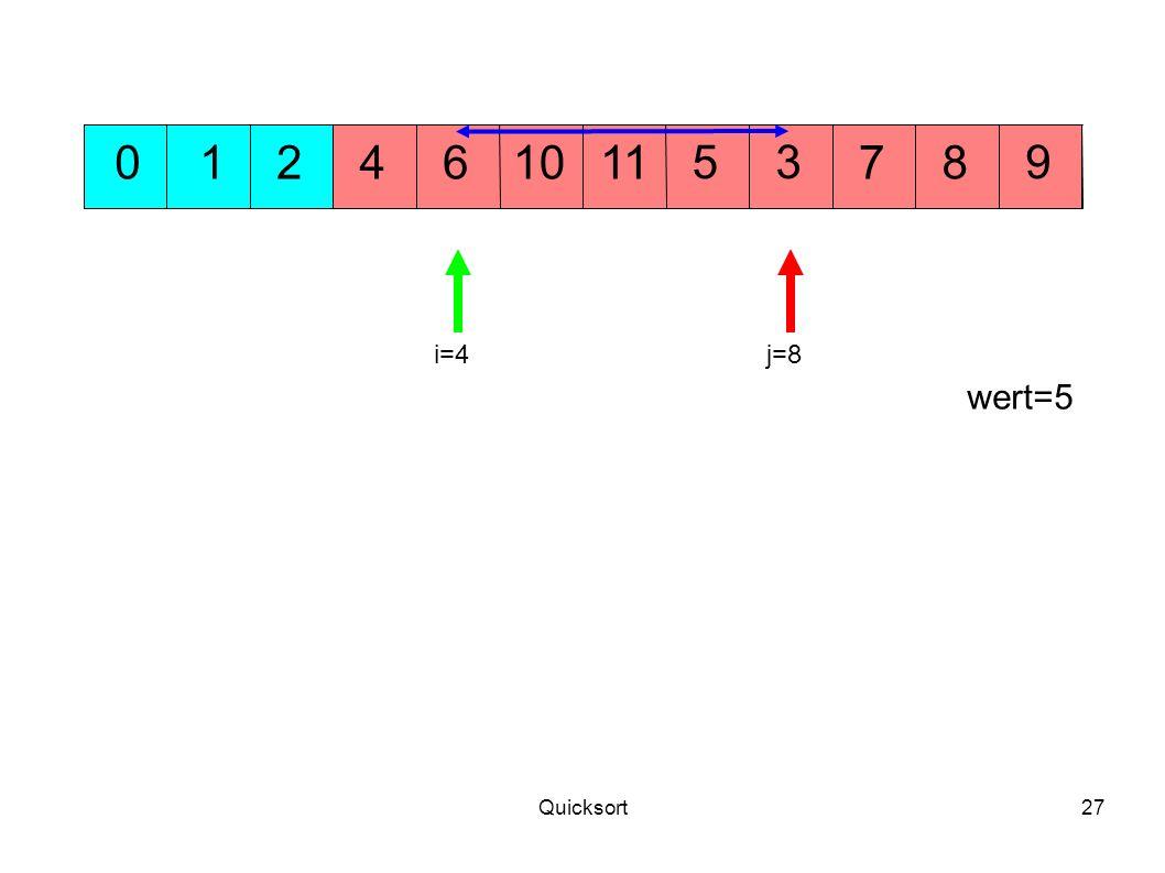 Quicksort27 104 395 701268 i=4j=8 wert=5 11