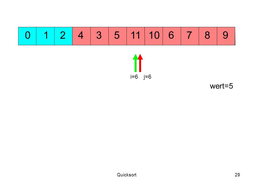 Quicksort29 54 69 10701238 j=6 wert=5 11 i=6