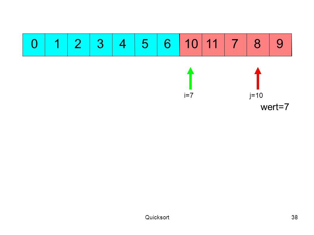 Quicksort38 5311 9 10701248 wert=7 6 j=10i=7