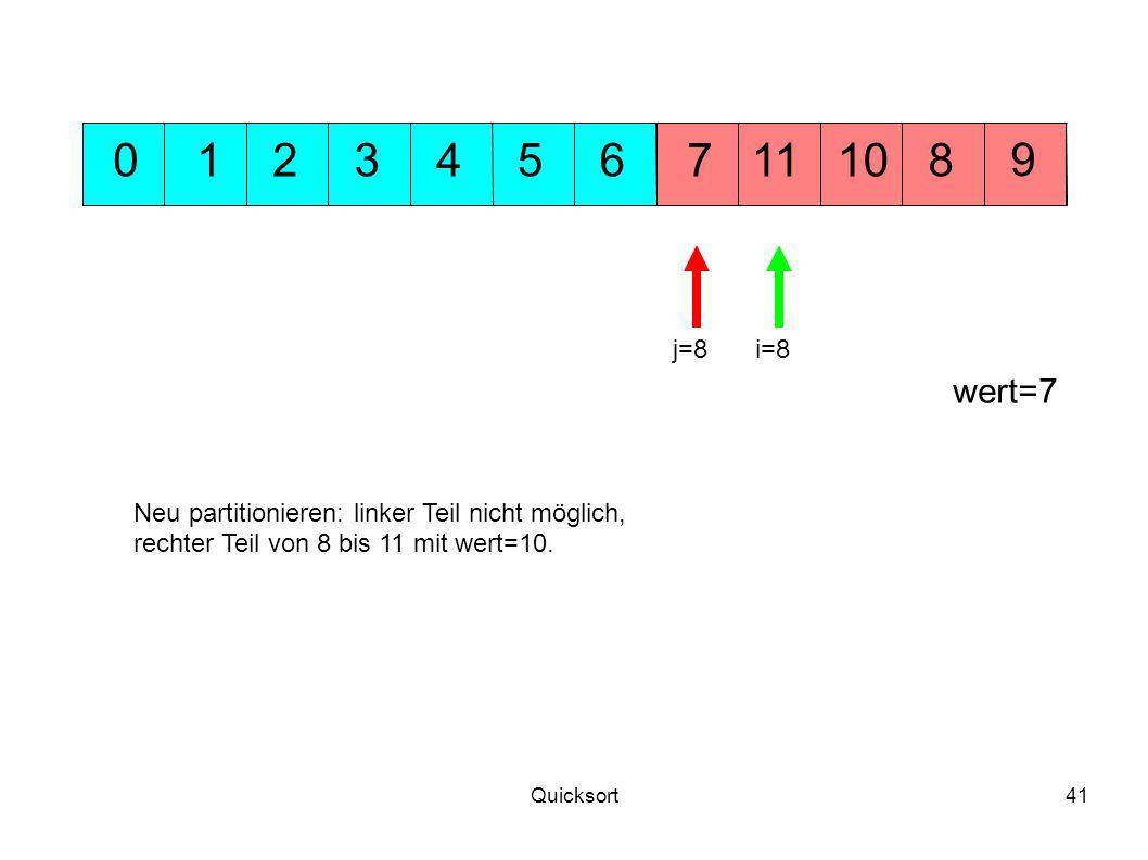 Quicksort41 5311 9 71001248 wert=7 6 j=8i=8 Neu partitionieren: linker Teil nicht möglich, rechter Teil von 8 bis 11 mit wert=10.