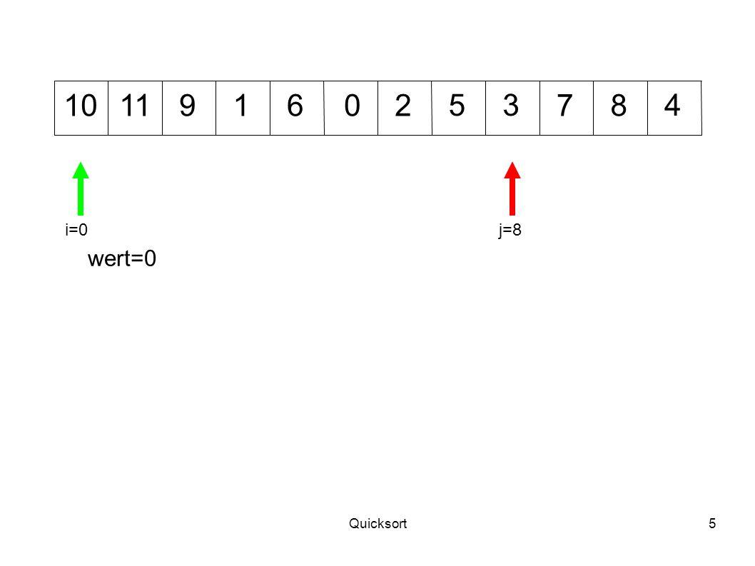 Quicksort36 5311 9 10701248 j=3i=5 wert=6 6 wert=4 j=6i=7 Neu partitionieren: beide linke Teile nicht möglich, rechter Teil von 7 bis 11 mit wert=7.