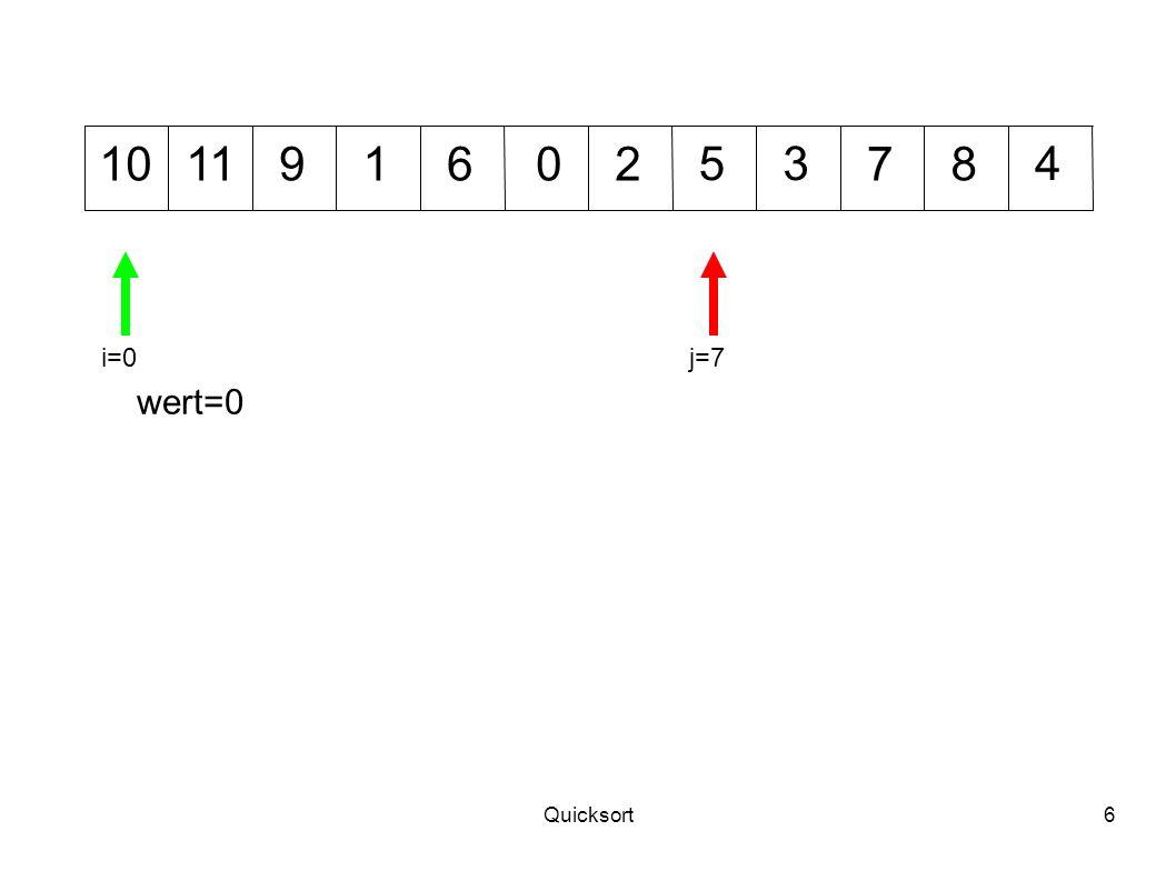 Quicksort17 1012 345 7011968 wert=2 i=1j=8