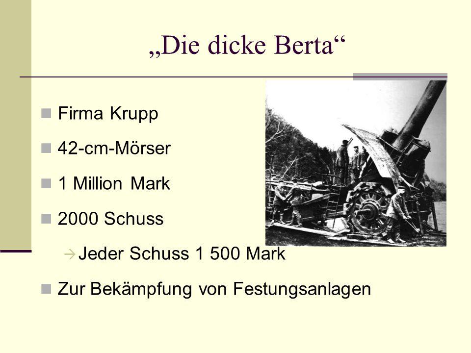 Die dicke Berta Firma Krupp 42-cm-Mörser 1 Million Mark 2000 Schuss Jeder Schuss 1 500 Mark Zur Bekämpfung von Festungsanlagen